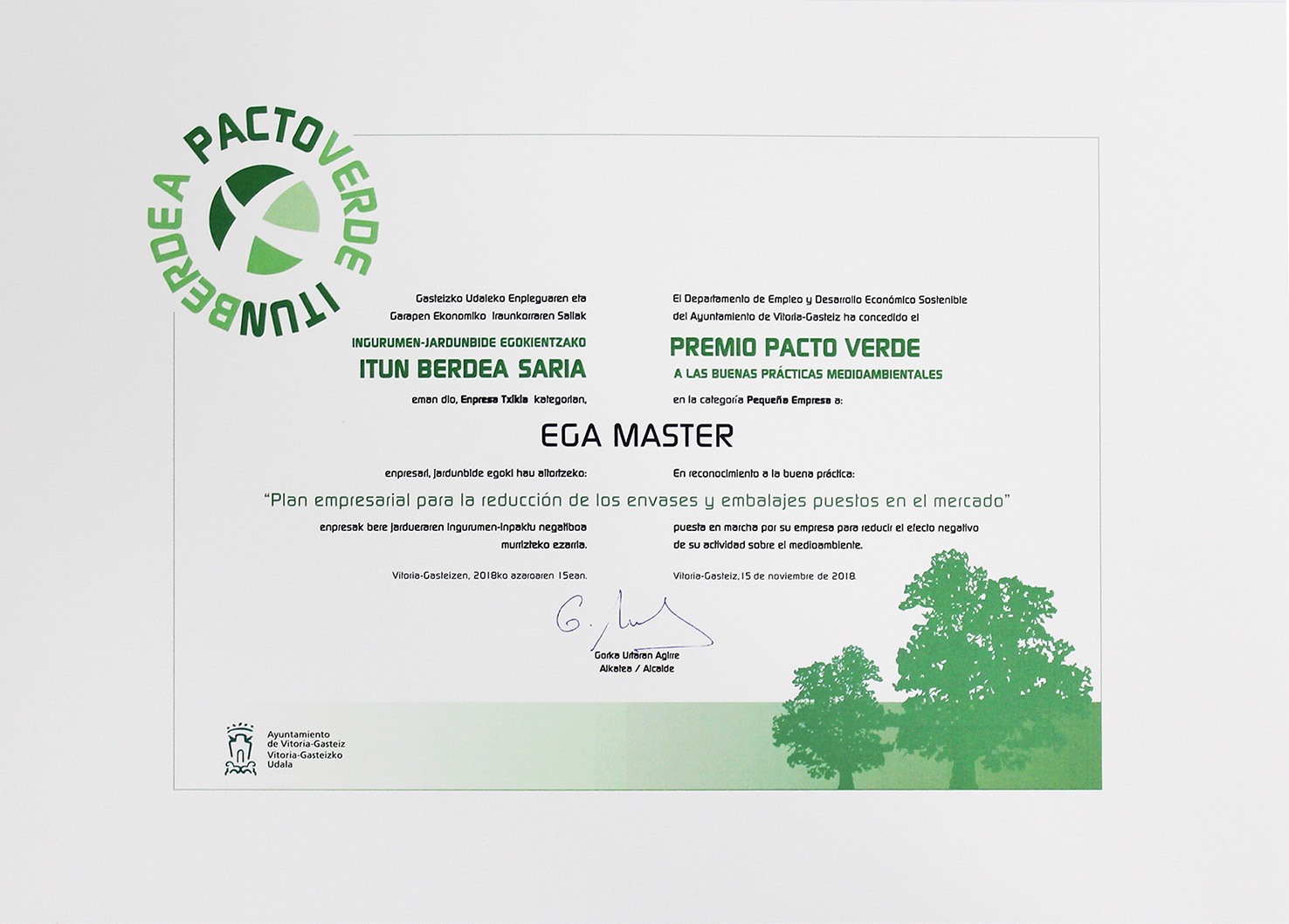 EGA MASTER WINNER OF THE IV GREEN PACT AWARD